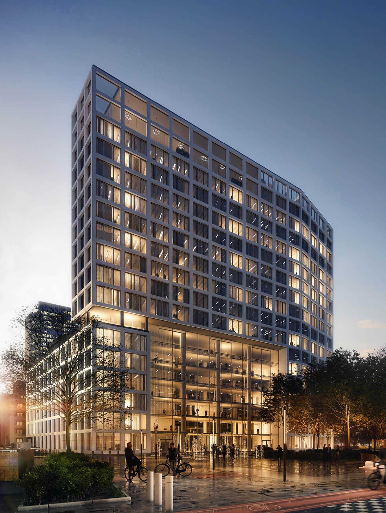 YRDS, ein Smart Building in Düsseldorf, hell, große Fenster und markante Architektur.