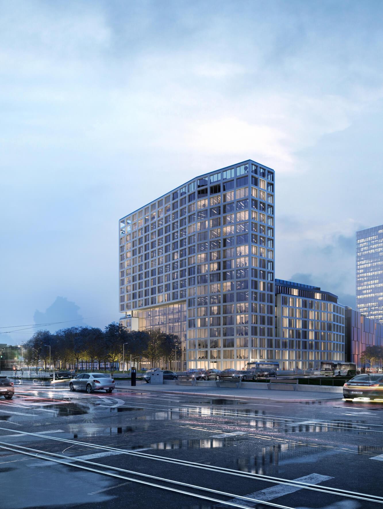 YRDS, eine Büroimmobilie mit Stadtplatz und Eingangsportal, im Norden Düsseldorfs